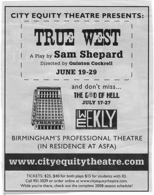 Sam Shepard season print ad, 2008